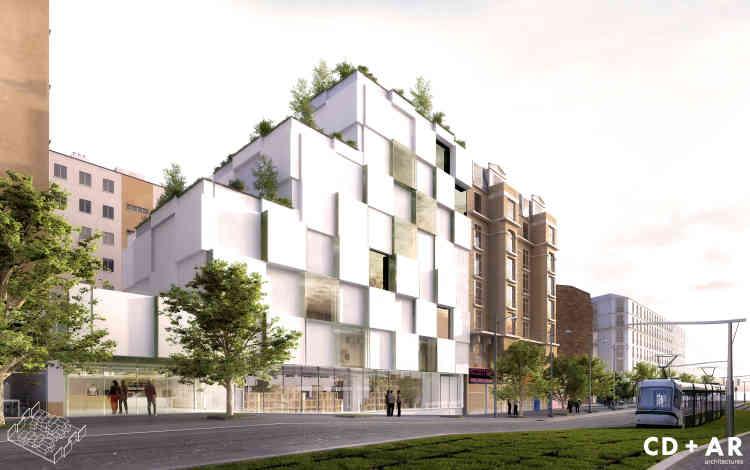 Pour ce bâtiment situé au 73-89, boulevard Bessières (Paris 17e), actuellement composé de 244 logements, les concepteurs ont décidé de s'appuyer sur l'édifice existant. Le projet prévoit d'équiper le bâtiment de terrasses partagées avec les bâtiments alentours, pour favoriser la rencontre, l'échange et les activités:  des potagers y seront par exemple installés pour les habitants du quartier.