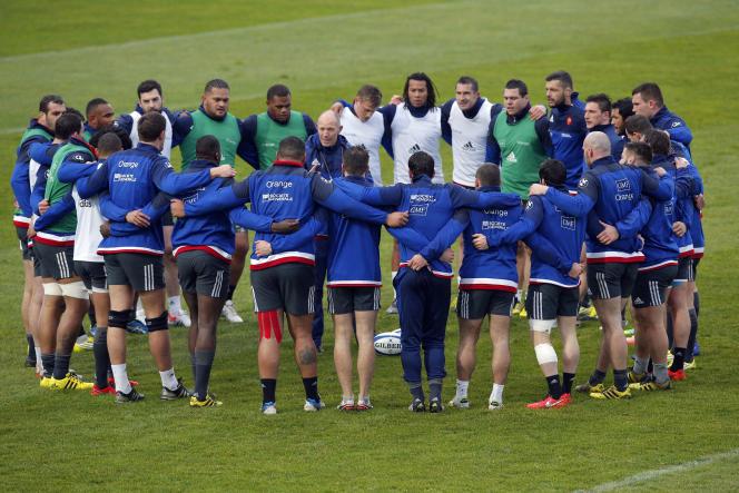 Le XV de France à l'entraînement au Centre national de rugby à Marcoussis (Essonne), le 2 février.