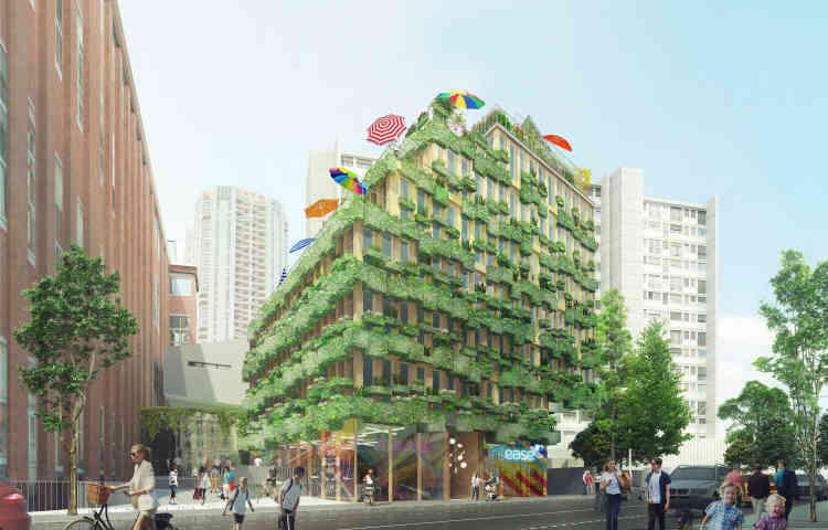 Situé au 67-69, rue Edison (Paris 13e), cette parcelle actuellement nue devrait accueillir des logements dotés d'espaces de vie partagés (30% des surfaces habitables), ainsi que d'un toit-potager. L'espace végétal occupera également une large place sur la façade du bâtiment.