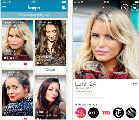 Happn est une application française de rencontres qui utilise la géolocalisation.