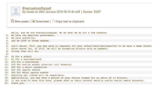 """Message de revendication publié par """"Evacuation Squad""""."""