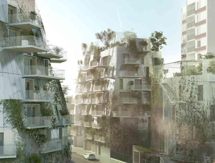 A partir de cet ensemble immobilier, propriété de Paris Habitat, situé au 5-10, rue Pitet (Paris 17e) et construit dans les années 70, les concepteurs ont notamment souhaité développer le concept de « Jardins habités », intégrant de petites structures en bois sur les différentes parcelles.