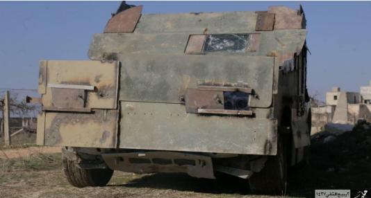 Un camion blindé et chargé d'explosifs utilisé pour une attaque-suicide dans la région d'Alep, en janvier.