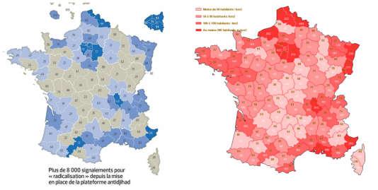 """A gauche la carte publié par """"Le Figaro"""", à droite une carte de la densité de peuplement par département."""