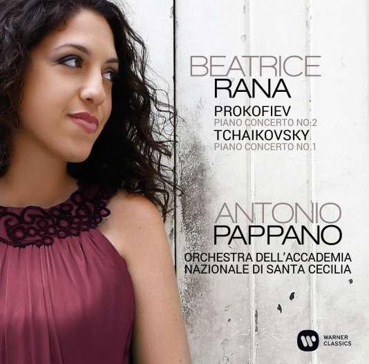 Pochette de l'album «Concerto pour piano et orchestre n°2 de Prokofiev. Concerto pour piano et orchestre n°1 de Tchaïkovski», par Beatrice Rana (piano) avec l'Orchestre de l'Académie nationale Saint-Cécile, Antonio Pappano (direction).