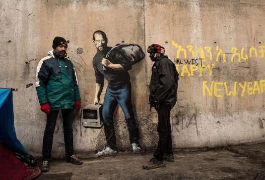 Le portrait de Steve Jobs par Banksy à Calais, le 12 décembre 2015.