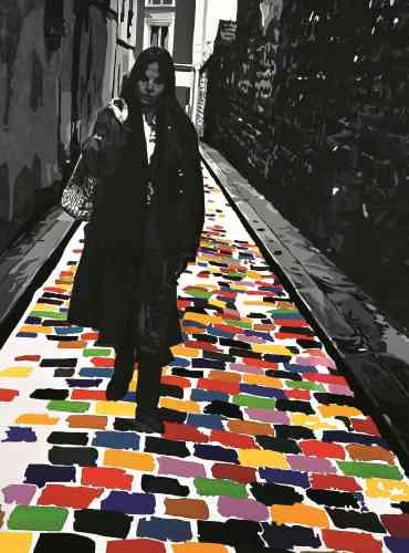 « Dans ce tableau, le personnage demeure en noir et blanc comme les murs qui l'entourent, et c'est la chaussée qui s'illumine. Sous les pavés, non pas la plage, mais la couleur. »