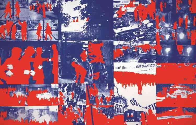 « Une œuvre-pivot : tout à la fois la peinture rouge qui coule et fait saigner des drapeaux, également les silhouettes rouges des manifestants de Mai 68 qui vont devenir l'une des marques de l'art de Fromanger dans les années qui suivent. »