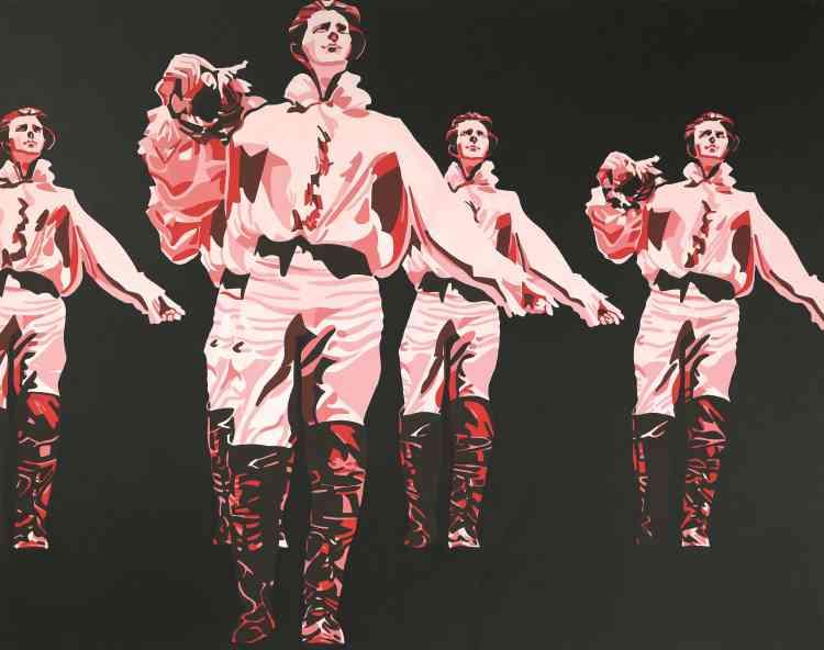« Sans doute le premier chef-d'œuvre de Fromanger. Le peintre multiplie l'image de Gérard Philipe pour symboliser le risque de pétrification du lyrisme, de l'imagination dans la société qui s'annonce en ce milieu des années 1960. »