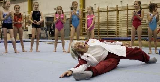 La Hongroise Agnes Keleti, 95 ans, doyenne des championnes olympiques.