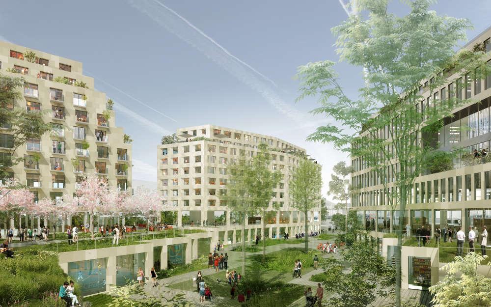 Ces actuels entrepôts de la ville de Paris, situés au 198, rue d'Aubervilliers (Paris 19e), vont être réappropriés pour créer un quartier entier « zéro carbone ». Les lieux feront la part belle à un paysage vert.
