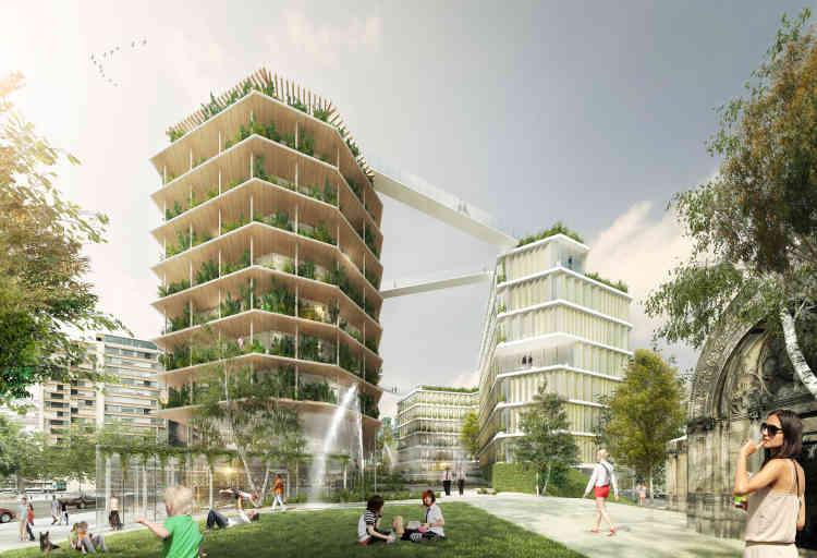 Sur cette tranchée ouverte au-dessus du périphérique à Ternes-Villiers-Champerret (Paris 17e), le projet « Ternes Mulistrates » accueillera des bureaux (11 000 m²), 70 lots de logements en accession, des logements sociaux et des commerces.  Le bâtiment équipé d'une structure bois, abrite également des toitures végétalisées.
