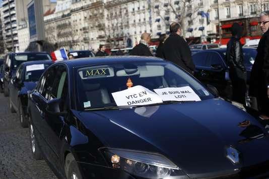 Manifestation de chauffeurs VTC, le 3 février, à Paris.