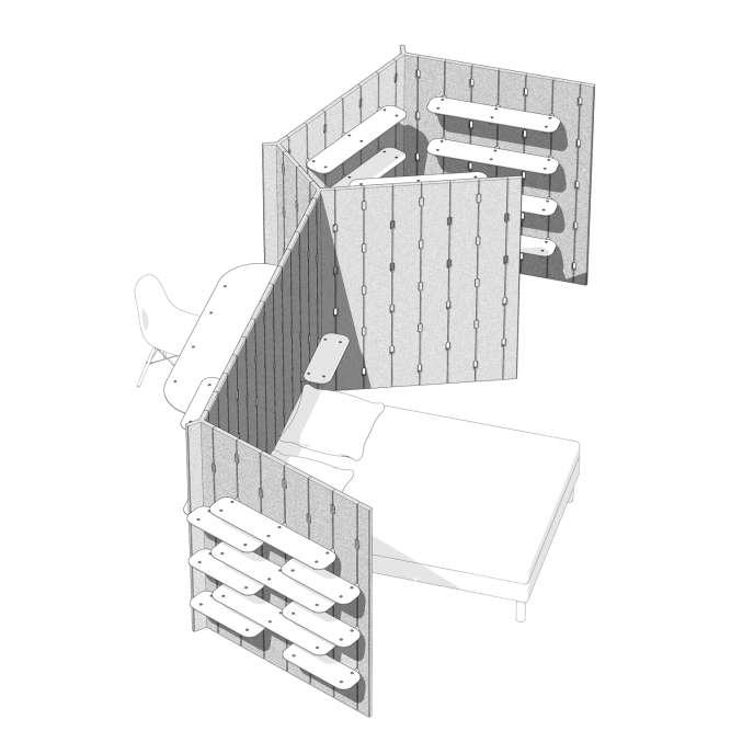 Les modules sont emboîtés les uns dans les autres pour fractionner une pièce en plusieurs pièces.