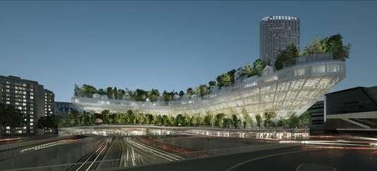 Bâti au-dessus du périphérique, au niveau du boulevard Pershing dans le 17e arrondissement, ce bâtiment reliera la Porte Maillot à Neuilly.