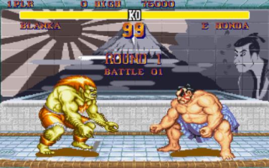 Blanka et Honda, deux des huit emblématiques héros de Street Fighter II, en 1991.