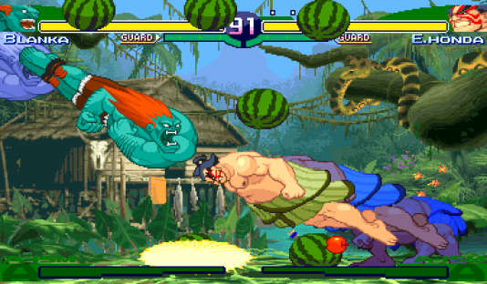 Blanka et Honda sont deux personnages à charge, un style défensif : le joueur doit se protéger plusieurs secondes avant de relâcher l'attaque (ici, Street Fighter Alpha 3).