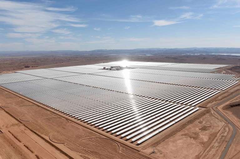 La station solaire Noor 1 à Tamezghitane, près de Ouarzazate en 2016.