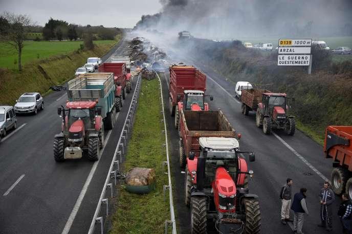 Le 29 janvier, des agriculteurs ont bloqué la RN165 près d'Arzal (Morbihan), entre Vannes et Nantes.