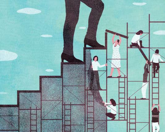 C'est aux échelons les plus élevés que les inégalités persistent. Seuls 14% des postes de direction sont occupés par des femmes, selon une étude CSA-KPMG, parue en juin2015.