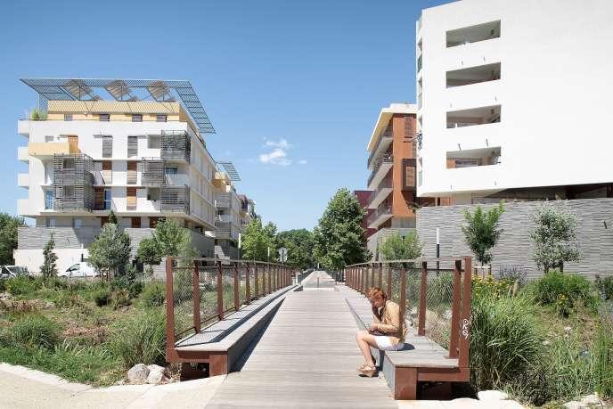 Le nouvel écoquartier Parc Marianne, à Montpellier. Entre la nouvelle mairie et le centre commercial Odysseum, cet écoquartier comporte 2000logements dont les deux tiers sont déjà construits.
