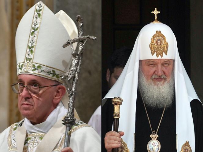 Le pape François et le patriarche de Moscou Cyrille, respectivement en novembre 2015 à Rome et en juin 2013 à Athènes.
