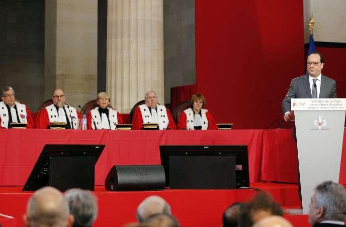 La réforme du Conseil supérieur de la magistrature était une promesse de campagne de François Hollande –ici, le 5 février, à l'Ecole nationale de la magistrature, à Bordeaux.
