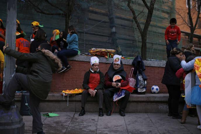 Scène du carnaval, le 5 février, à Madrid.