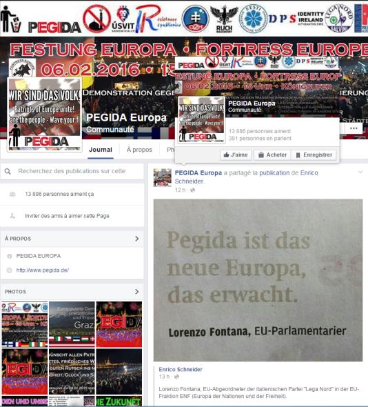 La page Facebook de Pegida Europa.