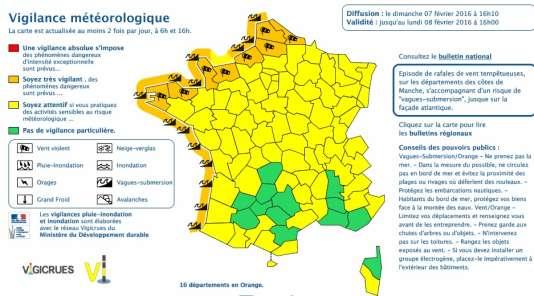 Carte de vigilance de Météo France, le dimanche 7 février à 16 heures.