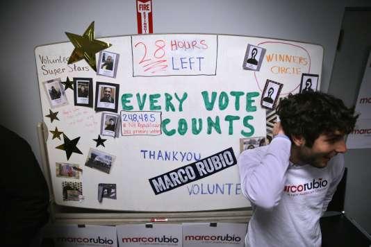 Dans le quartier général du candidat républicain Marco Rubio dans le New Hampshire à Manchester, le 8 février.