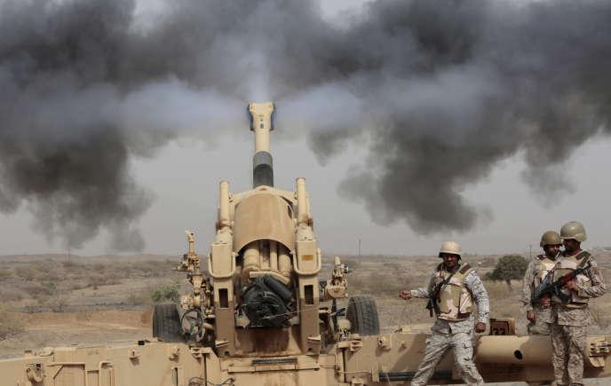 En avril 2015, des soldats saoudiens à Jazan, près de la frontière de l'Arabie saoudite avec le Yémen.