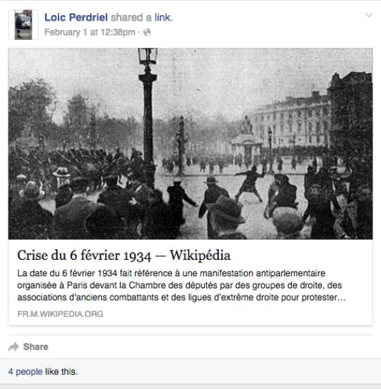 Capture de la page Facebook de Loïc Perdriel, l'un des responsables de Pegida en France.