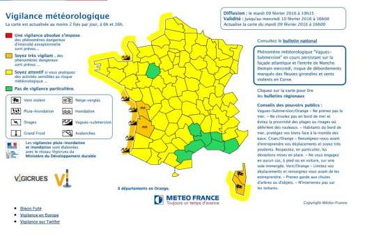 Carte de vigilance de Météo France, mardi 9 février.