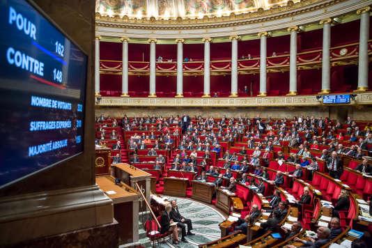 Les résultats du vote de l'article 2 du projet de révision constitutionnelle portant sur  la déchéance de nationalité, à l'Assemblée nationale à Paris, mardi 9 février 2016.