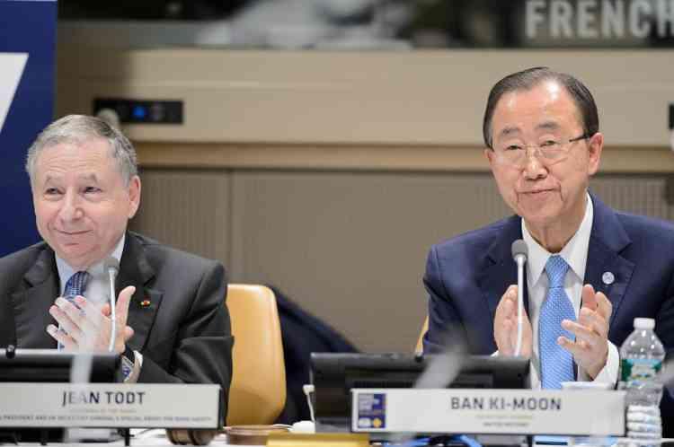 """""""Envoyé spécial des Nations unies pour la sécurité routière"""", Jean Todt aux côtés de Ban Ki-moon."""