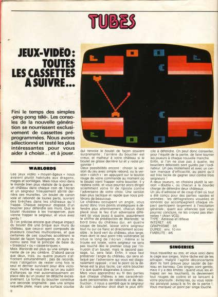 Les premières chroniques de «Tilt», en 1982, s'inspirent de la presse culturelle.