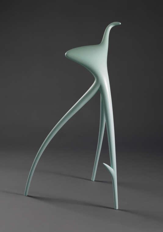 Tabouret  W.W. en aluminium laqué vert, créé par Philippe Starck pour Wim Wenders, (1991), édition Vitra.