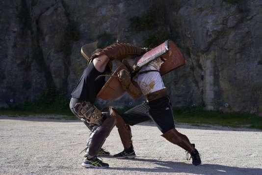 Les gladiateurs de l'équipe d'Acta, au château de Beaucaire, le 2 février.