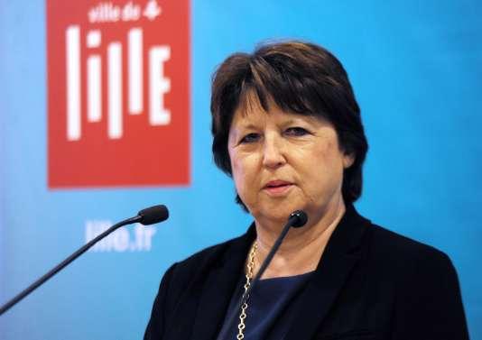 Martine Aubry, maire PS de Lille, lors des vœux, le 14 janvier.