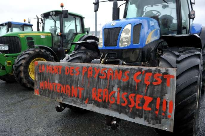Manifestation d'agriculteurs le 9février à Châteauroux (Indres).