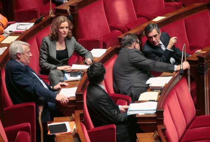 Nathalie Kosciusko-Morizet,  Claude Goasguen, Patrick Devedjian, Jean-Francois Lamour et Francois Fillon à l'Assemblée nationale le 9 février.