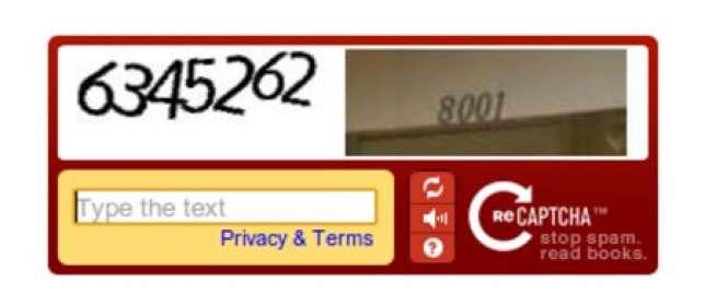 Avec ce Captcha, l'internaute déchiffre une image issue de Google Street View, illisible par un programme informatique.