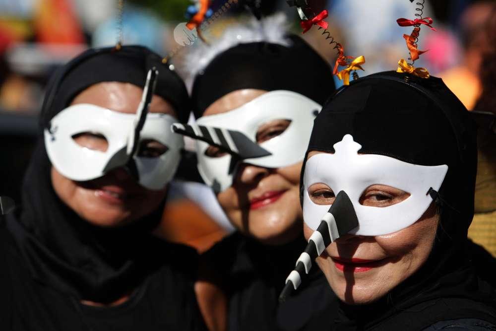 A Recife, le 6 février. Dans les défilés, les danseurs se sont protégés avec des produits anti-moustiques pour éviter d'attraper le virus Zika ou celui de la dengue.