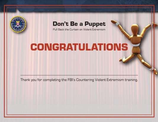 Les internautes ayant parcouru tout le site du FBI se voient délivrer un certificat.