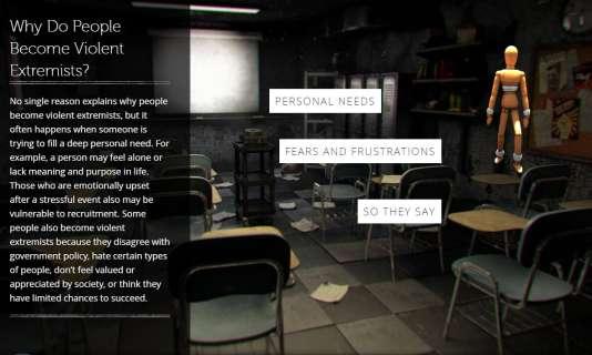 Une salle de classe délabrée illustre une des sections du site.