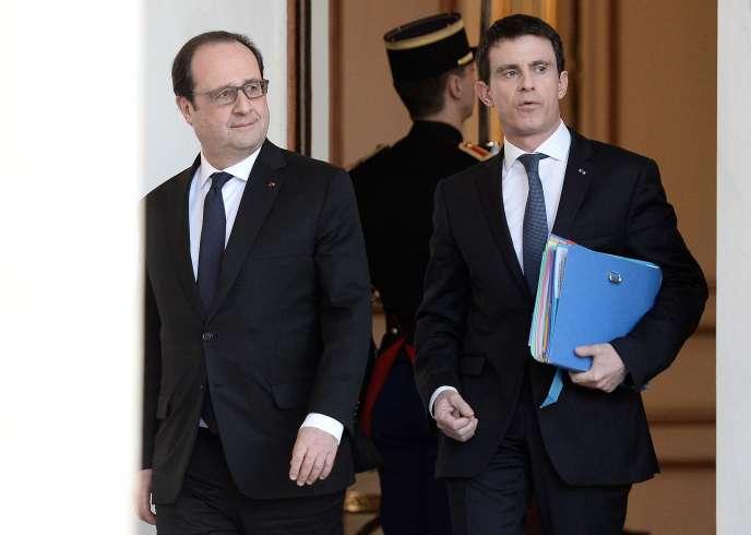 François Hollande et Manuel Valls, à l'Elysée, le 10 février 2016.