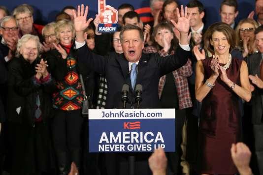 Le gouverneur de l'Ohio, John Kasich, est arrivé deuxième de la primaire républicaine dans le New Hampshire, le 9 février.