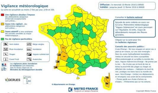 Carte de vigilance météorologique établie par Météo France, mercredi 10 février à6heures.