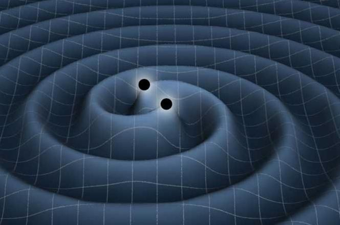 Vue d'artiste représentant les ondes gravitationnelles engendrées par l'interaction de deux objets massifs - par exemple des trous noirs.